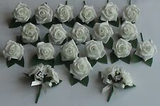 Ivory Rose Diamante Crystal Wedding Buttonhole Corsage Package