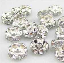 wholesale 100Pcs 8mm Czech Crystal Silver Plated  Bead Caps Spacer