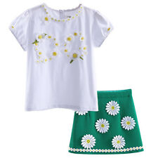 Children Girls Flower T-shirt + Green Fancy Skirts Kids Summer Clothing Outfits