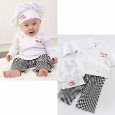 Baby Boy Girl Chef Cook Fancy Dress Party Costume Outfit Top+Pants+Hat Set 0 1 2