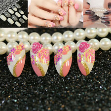 Artificial Manicure Nails Pointed Round False Nail Tips Acrylic Fake Finger Nail