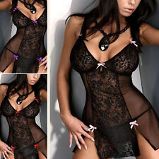 Plus size Sexy Lace transparent Lingerie Womens Erotic Dress Nightwear Baby Doll
