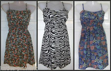 PRIMARK STRAPPY SUMMER COTTON DRESS LONG TOP UK 8, 10 OR 18 FLORAL or ANIMAL