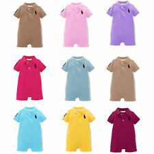 Newborn Baby Boy's Polo Rompers 100%Cotton Collared Short Playsuits 0-2Years
