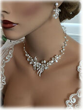 Wedding jewelry Fresh Water Pearl Necklace & Earring Bridal Jewelry Set