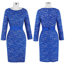 New Mother Of Bride Long Sleeve LACE Evening Bodycon Dress Formal Cocktail Party