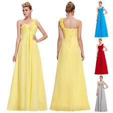 Flower Bridesmaid Cocktail One Shoulder Chiffon Gown Evening Prom Party Dress