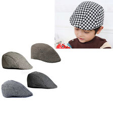 Fashion Kids Cool Beret Cap Boys Girls Houndstooth Newsboy Hat Flap Cabbie Hat