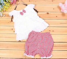 Trousers Baby Outfit Girls Kids T-shirt Toddler Clothes Pants Tops+Short 1SET
