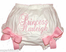 Personalized Diaper Cover Bloomers Pink Princess Script & Bows Free Ship
