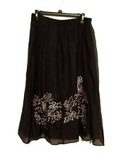 Jacques Vert Women's Embroidered Skirt, Lined BLACK