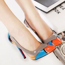 Sexy Womens Mixed Colors Pointed Toe Hollow Out Stilettos High Heels Shoes Pumps