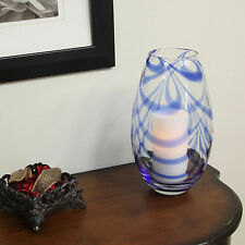 Flipo Pacific Accents Soho Swirled Glass Hurricane w/ Flameless LED Timer Candle