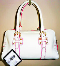 DOONEY & BOURKE NWT White w/ Pink Accents Leather Medium Duffle Handbag Purse
