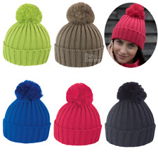 Result Chunky Knit Hat Winter Woolly Bobble Ski Mens Womens Cable Beanie R369X