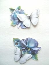 3D- U Pick-Blue Flower White Butterfly Summer Card Scrapbook Embellishment #1996