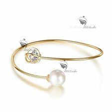 18k yellow rose gold gp SWAROVSKI crystal slip-on bangle pearl cuff bracelet