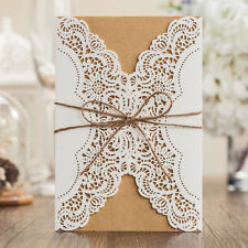 Personalized Rustic Lace Handmade Wedding Invitations Cards Envelopes Seals