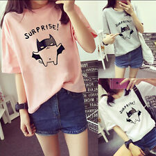 Women Bat Printed Loose T-Shirt Casual Round Neck Leisure Blouse Tops Polyester