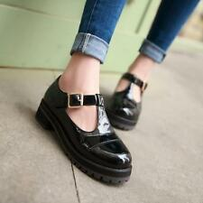 Retro ladies T-strap Oxford Patent leather Mary Janes Leisure Low-heels shoes #
