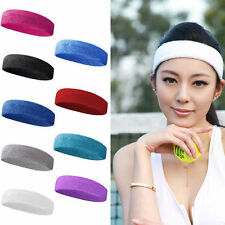 Women Men Sport Sweat Sweatband Cotton Headband Yoga Gym Stretch Head Band Hair