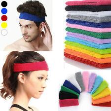 Women Men Sport Sweat Sweatband Cotton Headband Yoga Gym Stretch Head Hair Band