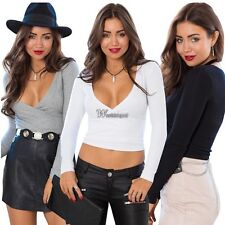 Women Long Sleeve Cotton Blend Sexy V Neck Crop Top Shirt Blouse gift Good WT8~