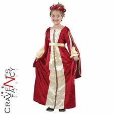 Child Regal Princess Costume Girls Medieval Tudor Book Week Day Fancy Dress New