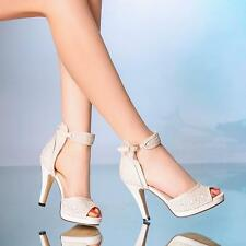Ladies Sexy Dress Formal Open toe Ankle strap High-heels Wedding Shoes new #