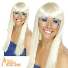 Dancing Queen Wig 70s Disco Long Blonde Super Trooper Womens Ladies New