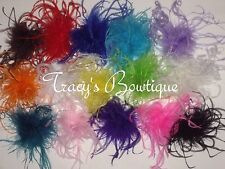 """One or a Lot of Curly Ostrich Feather Puffs on Lined Hair Clips 3""""- 4"""" & 5""""- 6"""""""