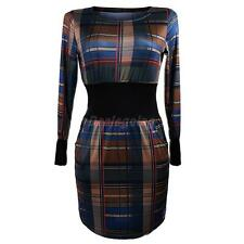 Fashion Ladies Long Sleeve Bodycon Splicing Printed Dress with Grid Pattern