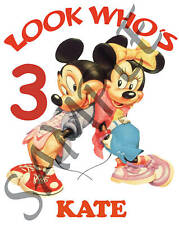 Personalized Mickey & Minnie Mouse Birthday T-Shirt