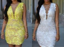 Sexy Mesh Stitching Lace Pencil Dress Round Neck Sleeveless Package Hip Skirt