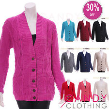 Chunky Cable Knit Cardigan Slouch Oversized Long Aran Grandad Winter Baggy S