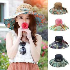 Womens Bohemian Bowknot Sun Hat Floral Beach Cap Floppy Wide Brim Summer Hat