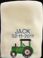 Personalised Baby Blanket Tractor Design - choice of blanket colours
