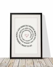 Bright Eyes First Day Of My Life Song Lyrics Frame A4 Print Typography Home Gift