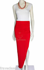 New Women's Red Ruched Side Split Asymmetric Stretch Jersey Maxi Skirt
