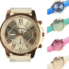 Fashion Geneva Roman Watch Women Lady Leather Band Analog Quartz Wrist Watch