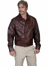 Scully Leather Mens Button Up Casual Flap Pocket Jean Jacket Chestnut