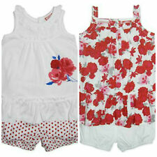 BNWT Baby Toddler Girls Floral Rose 2 Piece Summer Set - Sizes 0 1 2 Red White