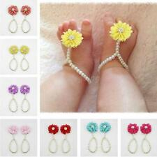 Pairs 14cm Baby Chiffon Pearl Barefoot Flower Sock Infant Summer Sandals Shoes