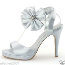 Designer Womens Flower Wedding Dress Silver Heels Sandals Bridals satin shoes