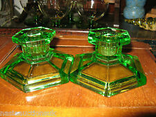 Pair of Art Deco Davidson Green Uranium? Pressed Glass Candlesticks