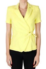 ARMANI COLLEZIONI Women Yellow Short Sleeved Cotton Blazer New with Tag