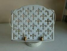 Old White Cast Iron Cookery Cook Book Display Stand Recipe Holder Fleur de Lis D
