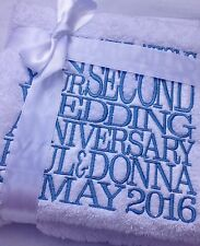 Personalised Second 2nd Wedding Anniversary Hand Bath Towels Sheets, Cotton Gift