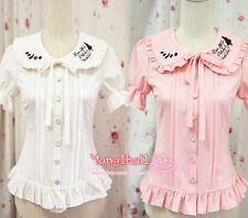 Japanese Sweet Lolita Vintage Embroidery Summer Slim Chiffon Princess Blouse Top