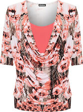 Womens Plus Floral Print Top Ladies Cowl Neck Insert Lined 3/4 Sleeve